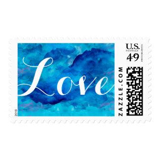 Sapphire Blue Watercolor Love Wedding Postage