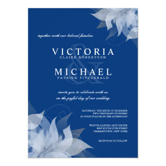Sapphire Blue & White Floral Wedding Invitations