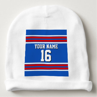 Sapphire Blue with Red White Stripes Team Jersey Baby Beanie