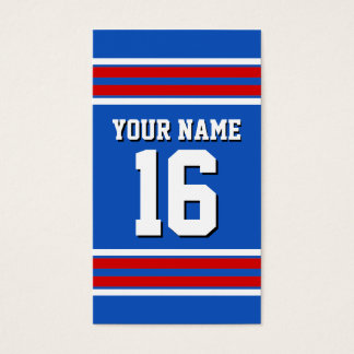Sapphire Blue with Red White Stripes Team Jersey Business Card