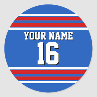 Sapphire Blue with Red White Stripes Team Jersey Classic Round Sticker