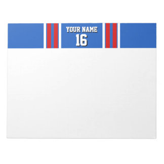 Sapphire Blue with Red White Stripes Team Jersey Notepad