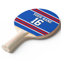 Sapphire Blue with Red White Stripes Team Jersey Ping-Pong Paddle