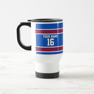 Sapphire Blue with Red White Stripes Team Jersey Travel Mug