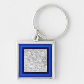 Sapphire Border Silver-Colored Square Keychain