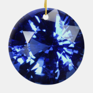 Sapphire Dark Blue Gemstone September Birthstone Ceramic Ornament