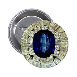 Sapphire Diamonds Vintage Costume Jewelry Brooch Button