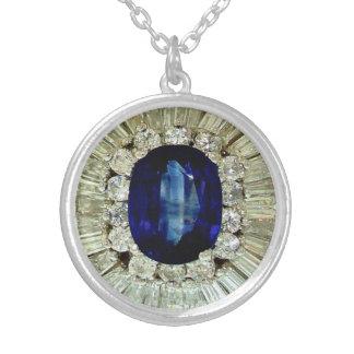 Sapphire Diamonds Vintage Costume Jewelry Charm