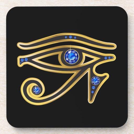 Sapphire Eye of Ra in Gold Cork Coaster