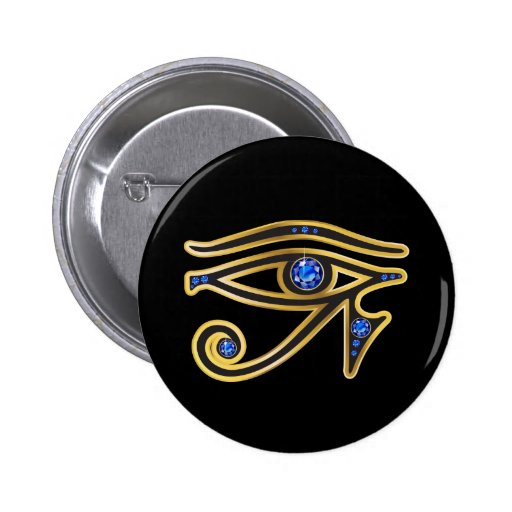 Sapphire Eye of Ra in Gold Pinback Buttons