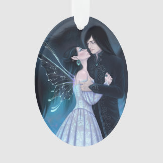 Sapphire Fairy and Angel Romance Oval Ornament
