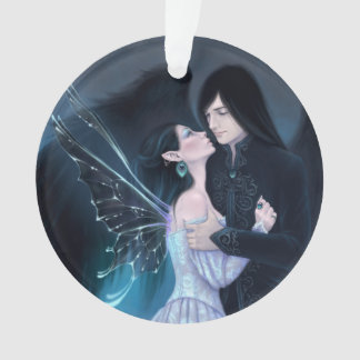 Sapphire Fairy and Angel Romance Round Ornament