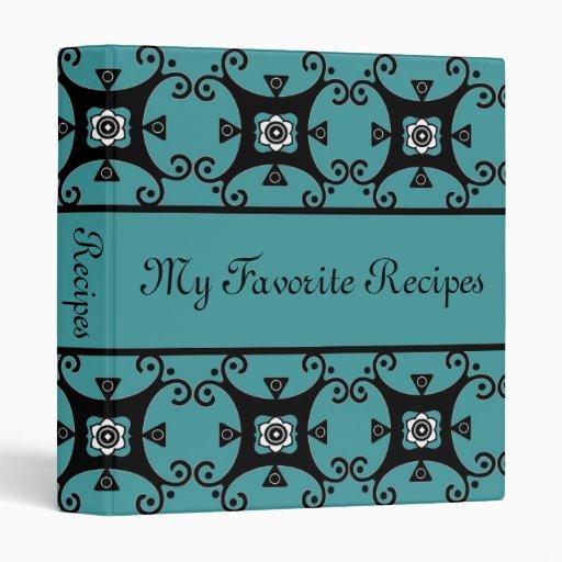 Sapphire Floral Swirls Recipe Book Vinyl Binders