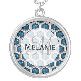 Sapphire Gem Pattern Round Pendant Necklace