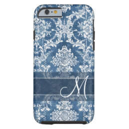Sapphire Grunge Damask Pattern with Monogram Tough iPhone 6 Case