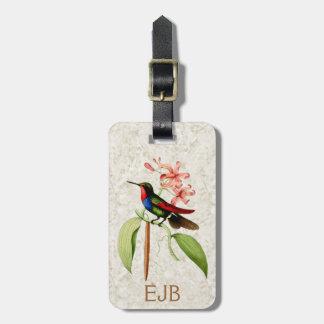 Sapphire Hummingbird Vintage Art Monogram Bag Tag