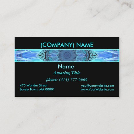Sapphire Ice Flame, Crystal Wheel, Aqua Blue Black Business Card