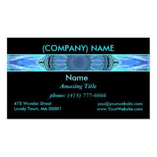 Sapphire Ice Flame, Crystal Wheel, Aqua Blue Black Business Card