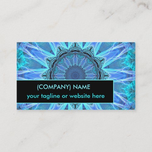 Sapphire Ice Flame, Crystal Wheel Aqua Blue Bright Business Card