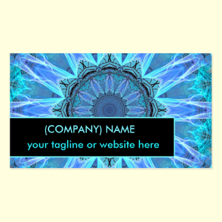 Sapphire Ice Flame, Crystal Wheel Aqua Blue Bright Double-Sided Standard Business Cards (Pack Of 100)