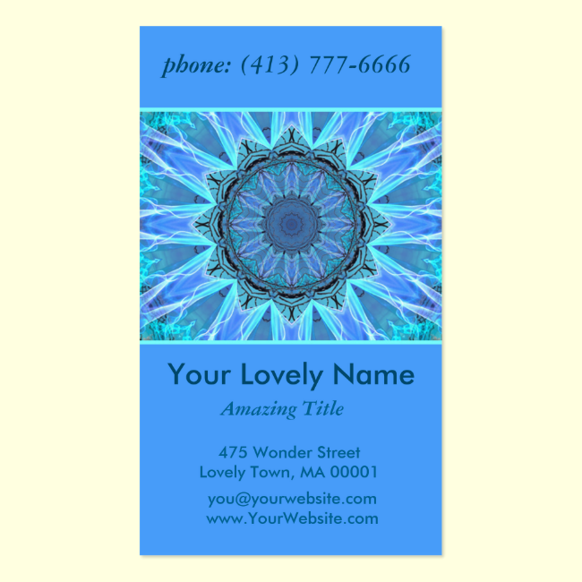 Sapphire Ice Flame Crystal Wheel Aqua Blue Mandala Double-Sided Standard Business Cards (Pack Of 100)