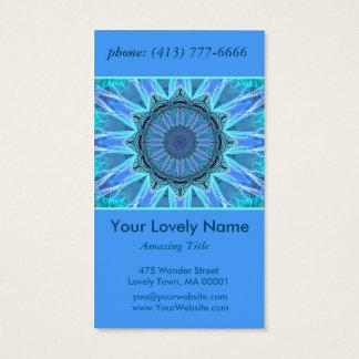 Sapphire Ice Flame Crystal Wheel Aqua Blue Mandala Business Card