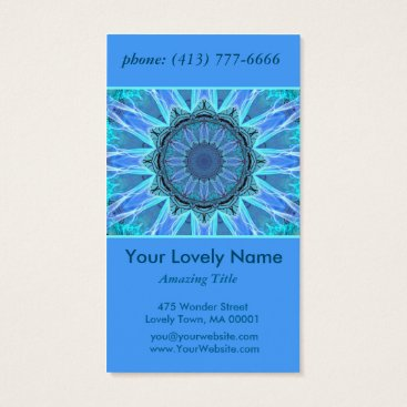 McTiffany Tiffany Aqua Sapphire Ice Flame Crystal Wheel Aqua Blue Mandala Business Card