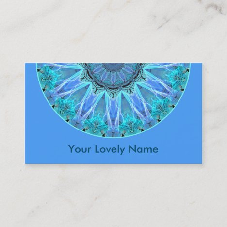 Sapphire Ice Flame Crystal Wheel Aqua Blue Mandala Business Card