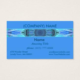 Sapphire Ice Flame, Crystal Wheel Aqua Blue Modern Business Card