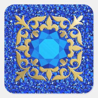 Sapphire jewel with druzy background square sticker