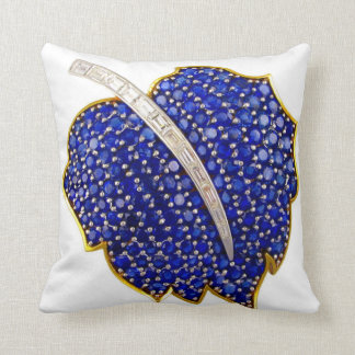 Sapphire Leaf Vintage Costume Jewelry SOFA BLING Throw Pillow