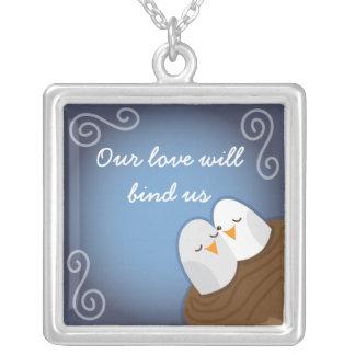 Sapphire Love birds necklace Square Pendant Necklace