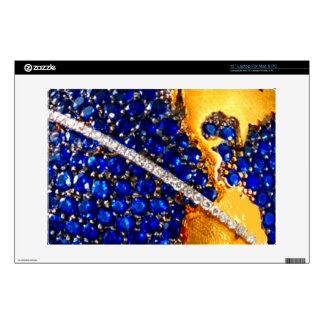 """Sapphire Ocean Gold Continents Costume Jewelry 13"""" Laptop Decals"""