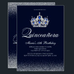 "Sapphire Quinceanera Invitations<br><div class=""desc"">Saphire Quinceanera Invitations. Designed with sparkles, silver glitter, a silver crown with sapphire accents for a fabulous Quinceanera, 15th birthday. Made for special for teens, this silver glitter Quinceanera invitation will be a fabulous introduction to your special day. Additional coordinating Quinceanera party supplies are available at Metro-Events Zazzle shop and...</div>"