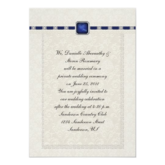 Sapphire Ribbons & Lace Post Wedding Card