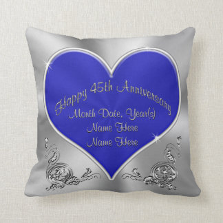 Sapphire Silvery 45th Wedding Anniversary Pillow