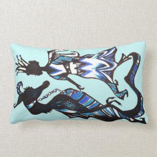 Sapphire Sky Serpent Lumbar Pillow