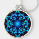 Sapphire Sun Silver-Colored Round Keychain