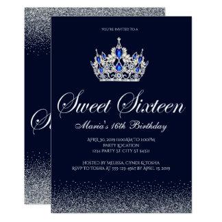Sapphire Sweet 16 Birthday Invitations