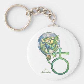 Sapphire Terra Basic Round Button Keychain