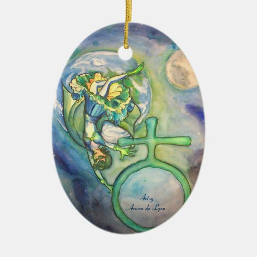 Sapphire Terra Double-Sided Oval Ceramic Christmas Ornament