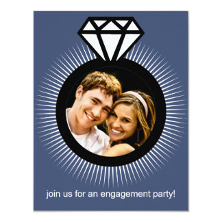 Sapphire The Ring Photo Engagement Party 4.25x5.5 Paper Invitation Card
