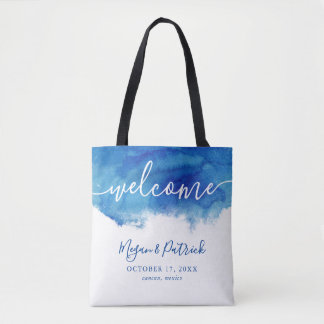Sapphire Tide Personalized Wedding Welcome Tote Bag