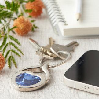 Sapphire Twisted Heart Metal Keychain
