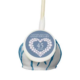 Sapphire Wedding Anniversary 45 years blue heart Cake Pops