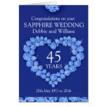 Sapphire wedding anniversary name details card