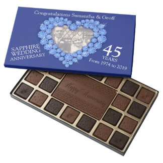 Sapphire wedding anniversary photo heart chocolate