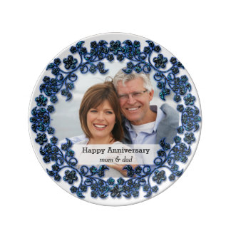 Sapphire wedding anniversary with a photo porcelain plate