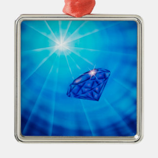 Sapphire with diamond cross section metal ornament