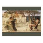 Sappho y Alcaeus de Alma Tadema, arte del vintage Postal